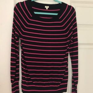 💖J.Crew Navy and Pink Striped Boatneck Sweater